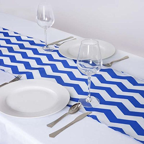 Efavormart 5PCS of Jazzed Up Chevron Table Runners Royal Blue/White