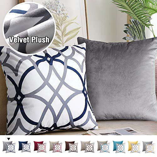 Pack of 2 Elegant Natural Feeling Decorative Throw Pillow Covers Soft Luxury Warm Series Square Cushion Case for Sofa Bedroom 18 x 18 Inch,Grey and Navy Geo Pattern Matched with Solid Grey