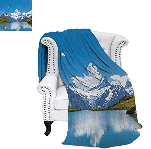 Custom Design Cozy Flannel Blanket Dreamy View of Alpine Lake with Snow Frozen Peaks Swiss Northern Explore Weave Pattern Blanket 60