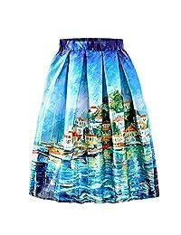 AGoGo Faldas Plisadas clásico Estampado Floral, Cintura elástica, Faldas Medias