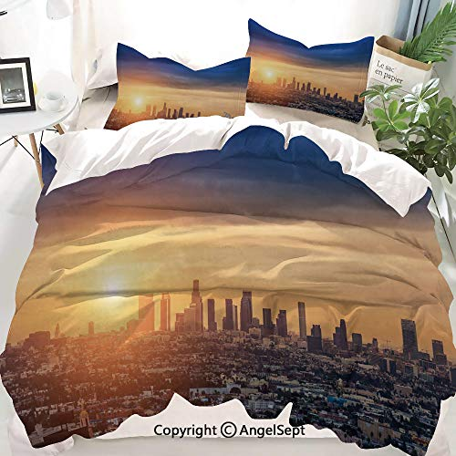 Homenon City Decor Duvet Cover Set Full Size,Sunrise at Los Angeles Urban Architecture Tranquil Scenery Majestic Sky,Decorative 3 Piece Bedding Set with 1 Pillow Shams