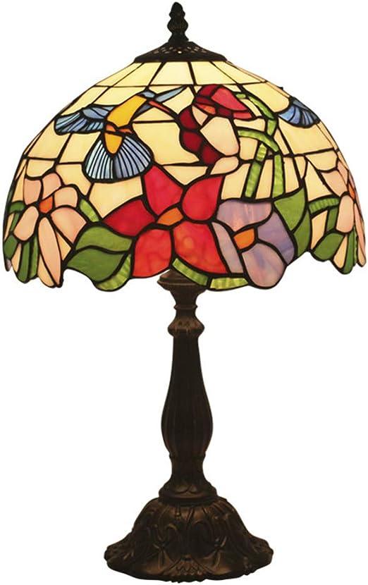 12 Pulgadas Tiffany Estilo Lampara Mesa Pastoral Retro Lámpara de Escritorio Tradicional Hecho a mano Colibrí Vitral Pantalla de lámpara Base de Resina para Sala de estar Dormitorio Mesita de noche: Amazon.es: