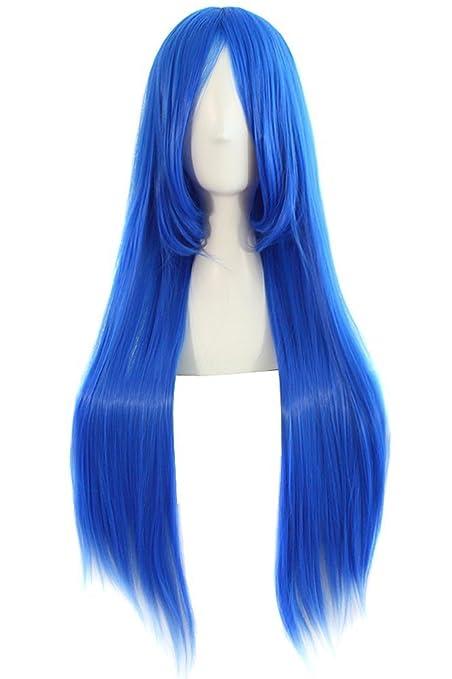 MapofBeauty 80cm/31 pulgada largo lacio seorita lacio anime traje Pelucas (marino azul)
