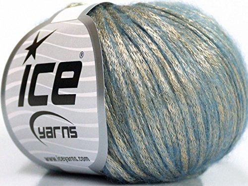 Rock Star, Light Gold, Light Blue, Metallic Shine, Soft Nylon Merino Wool Acrylic Blend Yarn 50 Gram, 52019