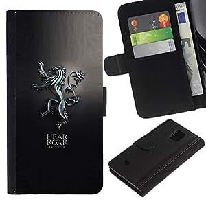 Protector de cuero de la PU de la cubierta del estilo de la carpeta del tirón BY RAYDREAMMM - Samsung Galaxy S5 Mini, SM-G800 - Escucha el rugido del león Lannister