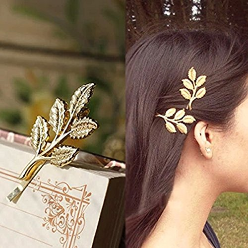 PIXNOR 10PCS Europe and The United States Hair Jewelry Hair Clips Athena Olive Branch Leaves Barrettes Bobby Pin Hairpins Hair Ornaments Hair Accessories Beautiful Bride Headwear Edge Clip Clamps