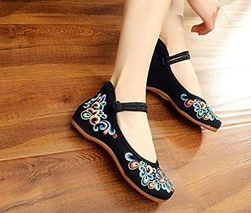 ZQ Gestickte Schuhe, Sehnensohle, ethnischer Stil, weibliche Tuchschuhe, Mode, bequem, lässig , meters white , 39