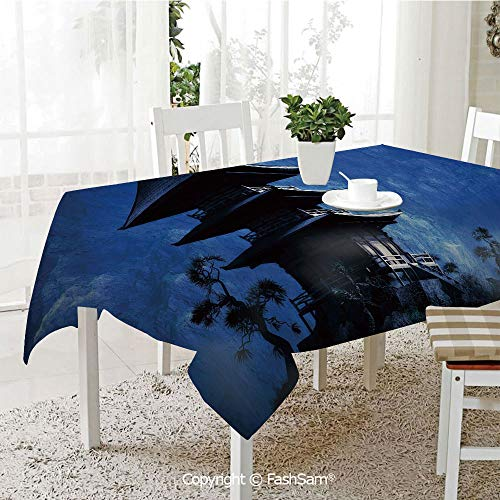 FashSam Tablecloths 3D Print Cover Religious Temple in Eerie Mountains Historical Asian Decorative Party Home Kitchen Restaurant Decorations(W60 -