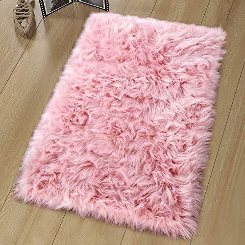 Noahas Luxury Fluffy Rugs Bedroom Furry Carpet Bedside Sheepskin Area Rugs Children Play Princess Room Decor Rug, 2ft x 3ft, Pink