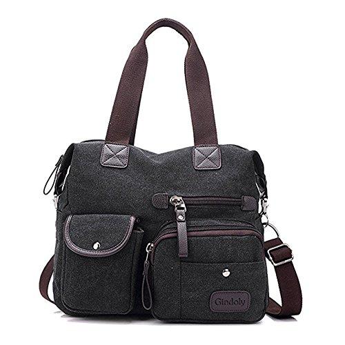 à bandoulière poches Sacs Shopping main Sac femme travail fourre Multi voyage pour Grand Gindoly à tout l'école Toile Noir et pour de Hobo sac dwv4Yv