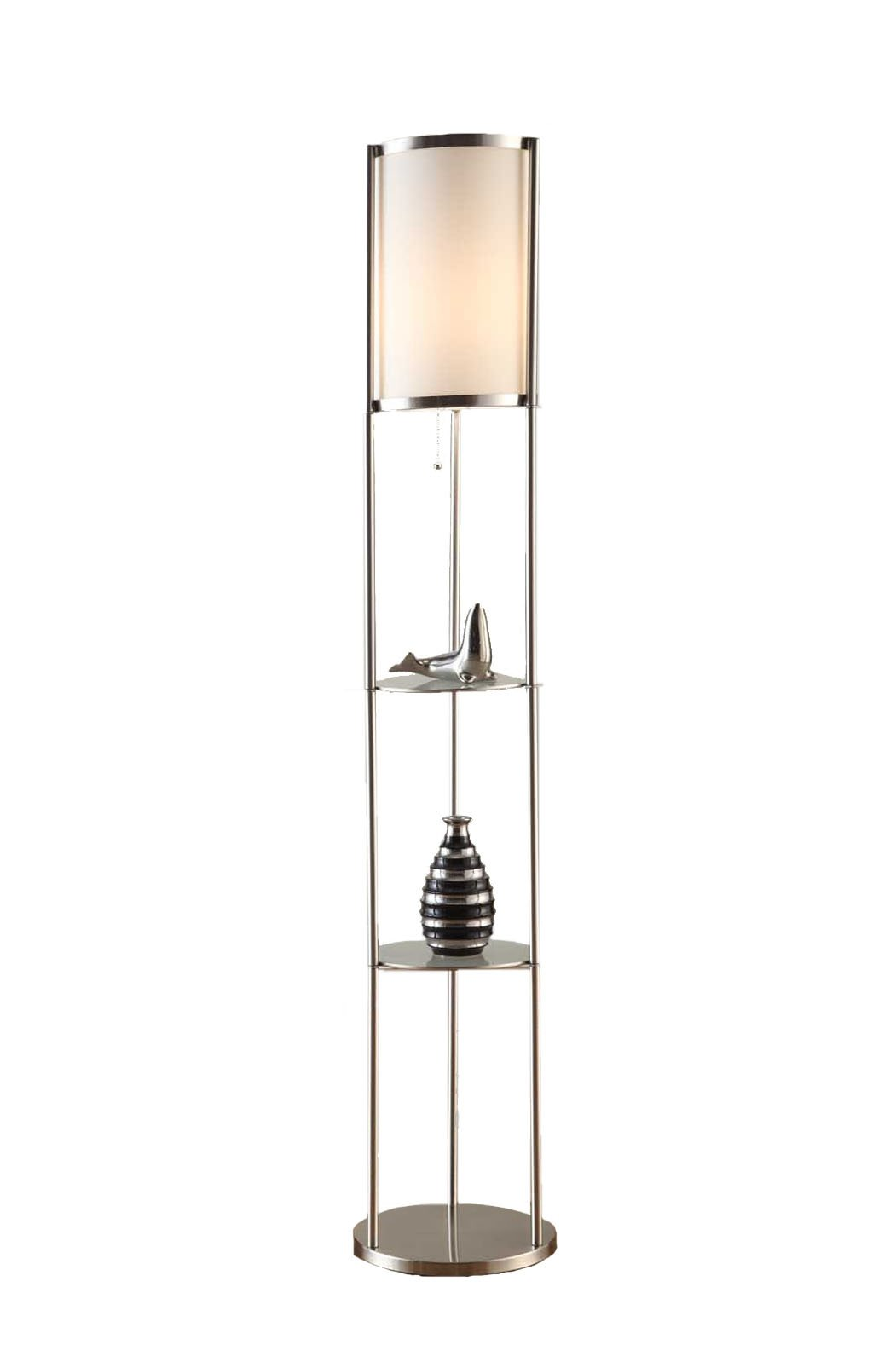 Artiva USA Exeter, Modern Design, 63-Inch Brushed Steel Finish Durable Glass Display Shelf Floor Lamp with Smooth Silk Shade by Artiva USA