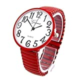 Red Super Large Face Stretch Band Fashion Watch