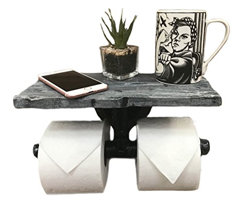 Piping Hot Art Works Toilet Paper Holder-Multi Roll Design-PERSONALIZED Floating Distressed Weathered Shelf. NEVER RUN OUT OF TP AGAIN ! (Wall Mounting Hardware Included!) (Weathered Blue/Gray) by Piping Hot Art Works (Image #9)