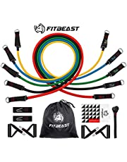 FitBeast Exercise Resistance Bands Set, Up to 100 lbs Fitness Stretch Workout Bands Kit with 5 Fitness Tubes, 4 Foam Handles, Ankle Straps, Door Anchor for Men Women, Home Gym Fitness, Physical Therapy