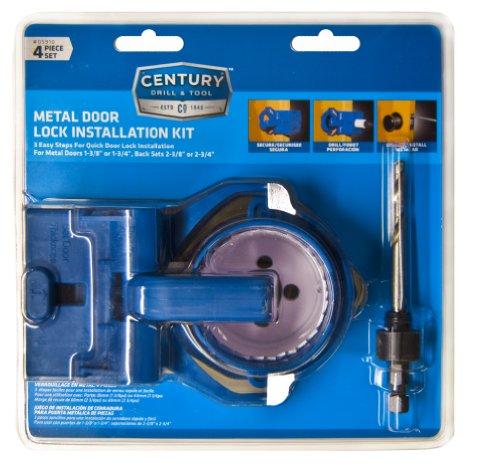Century Drill and Tool 5910 Shark Tooth Bi-Metal Hole Saw Metal Door Lock Installation Kit, 4 Piece by Century Drill & Tool