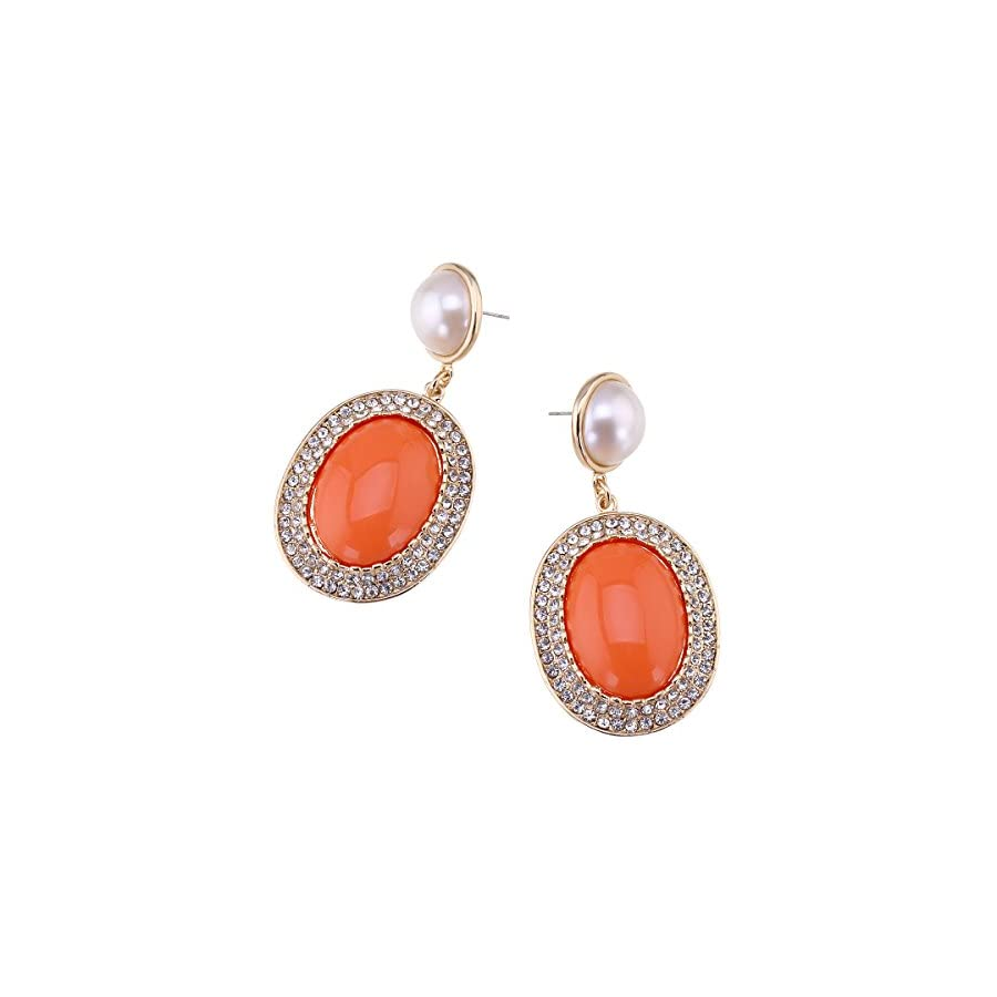 Fashion Gold Plated Inlaid Imitation Pearl Statement Earrings for Women Rhinestones Dangle Clip on Earrings