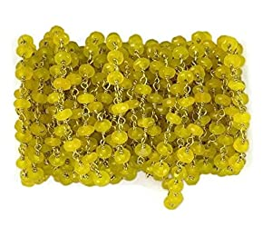Bumper offer 5 Feet Yellow Sapphire Chalcedony 24k Gold Plated Faceted Rondelle 3.5-4mm Rosary Link Chain