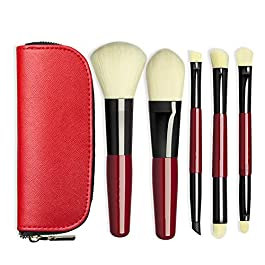 5PCS/SET Portable Makeup Brush Kit Travel Cosmetic Brush Set Foundation Brush Eyes Makeup Applicator Soft Bristle…