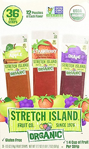 Stretch Island Organic Fruit Leather Strips, Assorted Flavors, 36 strips/box (pack of 6) by Stretch