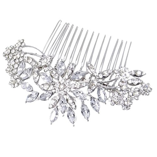 Jeweled Jewelry (EVER FAITH® Bridal Flower Snowflake Hair Comb Clear Austrian Crystal)