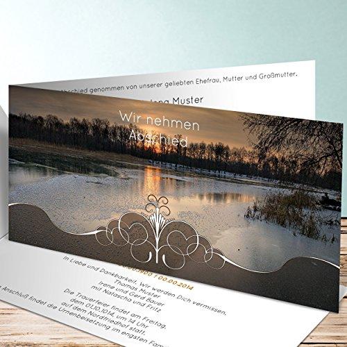 Einladungskarten Beerdigung, Abendstimmung 150 Karten, Horizontale Klappkarte 210x100 inkl. weiße Umschläge, Braun