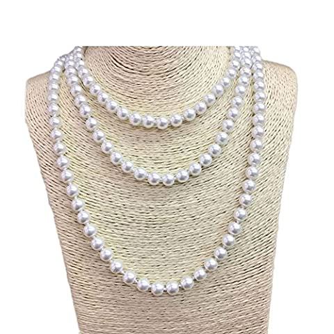 W-JSEA 57'' Length 8mm Simulated Glass Pearl Long Necklace Multi Layer Statement Necklace Women (Multi Strand Statement Necklace)