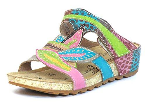 Laura Vita Mujeres Zapatos abiertos beige, (rot-kombi) BOURGES 33 rot-kombi