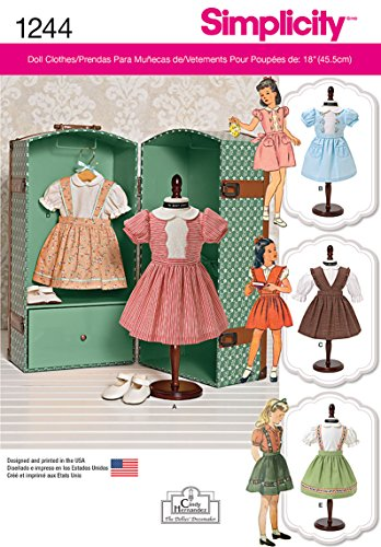 (Simplicity Creative Patterns 1244 Vintage 18-Inch Doll Clothes, Size: Os One Size)