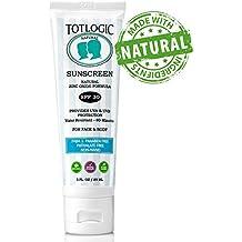 TotLogic Natural Reef Safe Sunscreen SPF 30, 3 oz - Water Resistant Biodegradable Zinc Oxide Mineral Sunblock