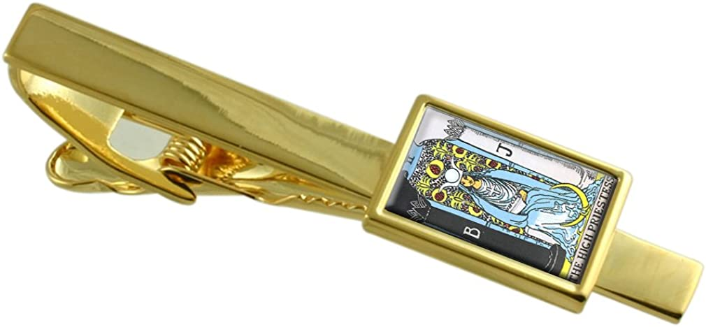 Select Gifts Tarot Priestess Card Gold-Tone Tie Clip Engraved Message Box