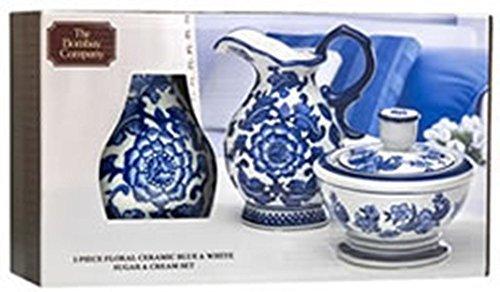 The Bombay Company Floral Ceramic Blue & White Sugar & Cream Set
