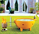 ALFI brand  FireHotTub-OR Round Fire Burning Portable Outdoor Fiberglass Soaking Hot Tub, Orange