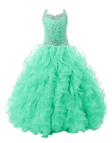 (Baoji Girls' Crystal Body Straps Layered Ball Gown Ruffles Pageant Dresses 10 US Mint Green)