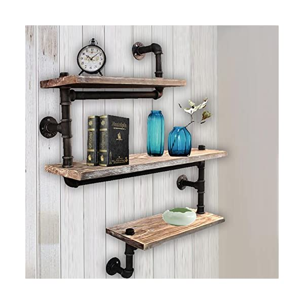 Reclaimed Wood & Industrial Heavy Duty DIY Pipe Shelf Shelves Steampunk Rustic Urban Bookshelf Real Wood Bookshelves and bookcases 3