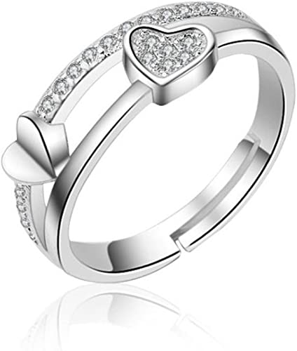 Women Alloy Love Heart Ring Promise Engagement Wedding Rings Jewelry Gift Size 7