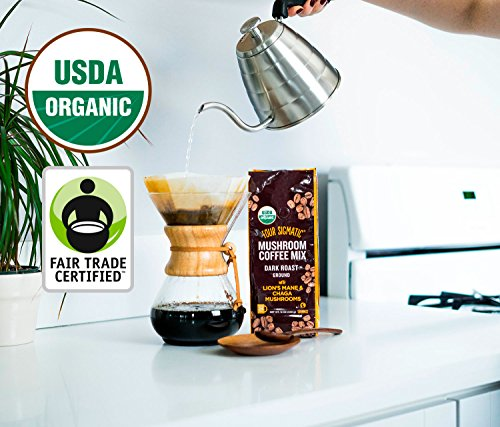 Four Sigmatic Mushroom Ground Coffee, USDA Organic and Fair Trade Coffee with Chaga and Lion's Mane mushrooms Vegan, Paleo, 12 Ounce, Dark roast