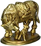 Animal Ornaments Brass Statue Holy Cow and Calf Decor Indian Sculpture for Home 4 Inch 1 .04 Kg