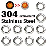 "10 Pcs TMH 3/4"" Inch Stainless Chrome Bezel Cover LED Clearance Markers, side marker lights, led marker lights, led side marker lights, led trailer marker lights, trailer marker light"