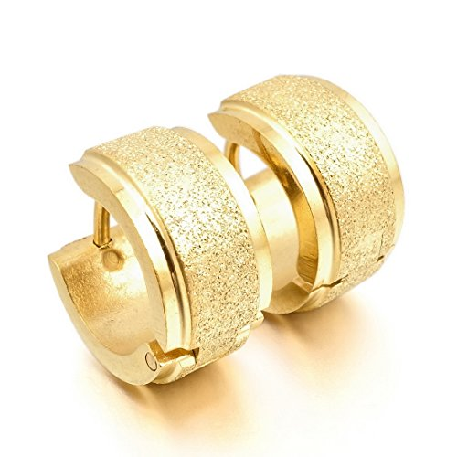 INBLUE Men's Stainless Steel Stud Hoop huggie Earrings Gold Tone Matte ()