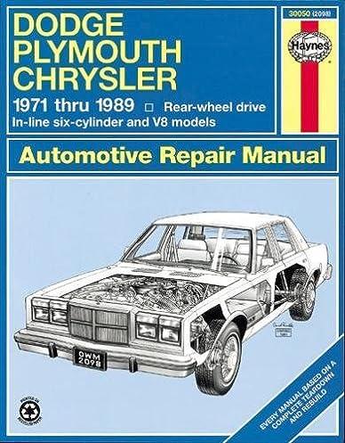 dodge plymouth chrysler fullsize rwd 71 89 haynes repair manuals rh amazon com 1984 Chrysler LeBaron 1990 Chrysler LeBaron