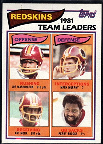 Football NFL 1982 Topps #509 Joe Washington/Mark Murphy/Art Monk/Perry Brooks TL Redskins Art Monk Washington Redskins