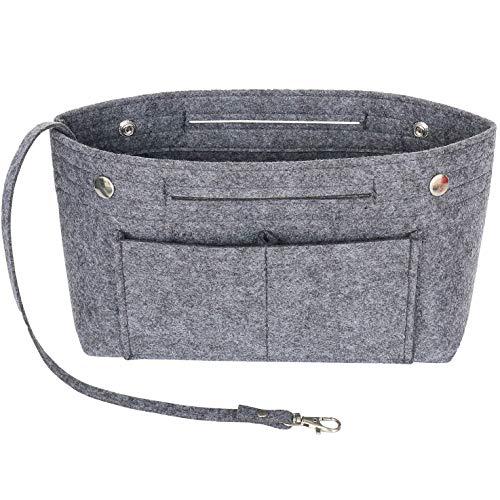 Yoillione Felt Organizer Insert Handbag Organiser, Felt Bag Purse Organizer with Handle Keychain and Safer Snap Buttons, Dark Grey, Large