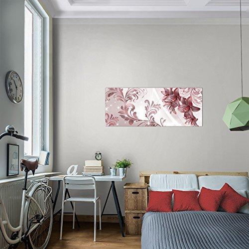 Bilder-Blumen-Lilien-Wandbild-Vlies-Leinwand-Bild-XXL-Format-Wandbilder-Wohnzimmer-Wohnung-Deko-Kunstdrucke-Rot-1-Teilig-100-MADE-IN-GERMANY-Fertig-zum-Aufhngen-009412a