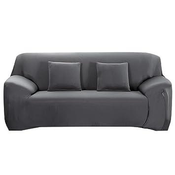 Souarts Sofabezug Elastische Stretch Sofabezug Mit 4 Verschienden Grosse Bezug Couchsessel Fur 4 Sitzer 235 300cm Grau