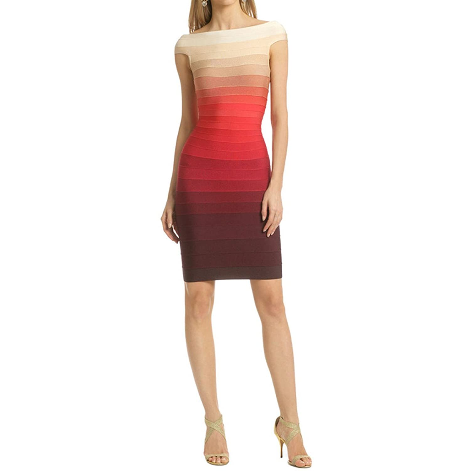 Hlbcbg Rayon Women's Bandage Bodycon Dress Cocktail Party Dress 2327