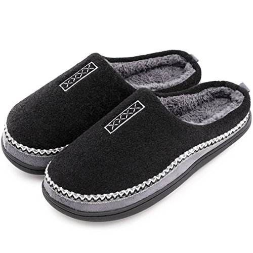 Men's Cozy Fuzzy Wool Fleece Memory Foam Slippers Slip On Clog House Shoes Indoor/Outdoor (US Men's 7-8, Black)