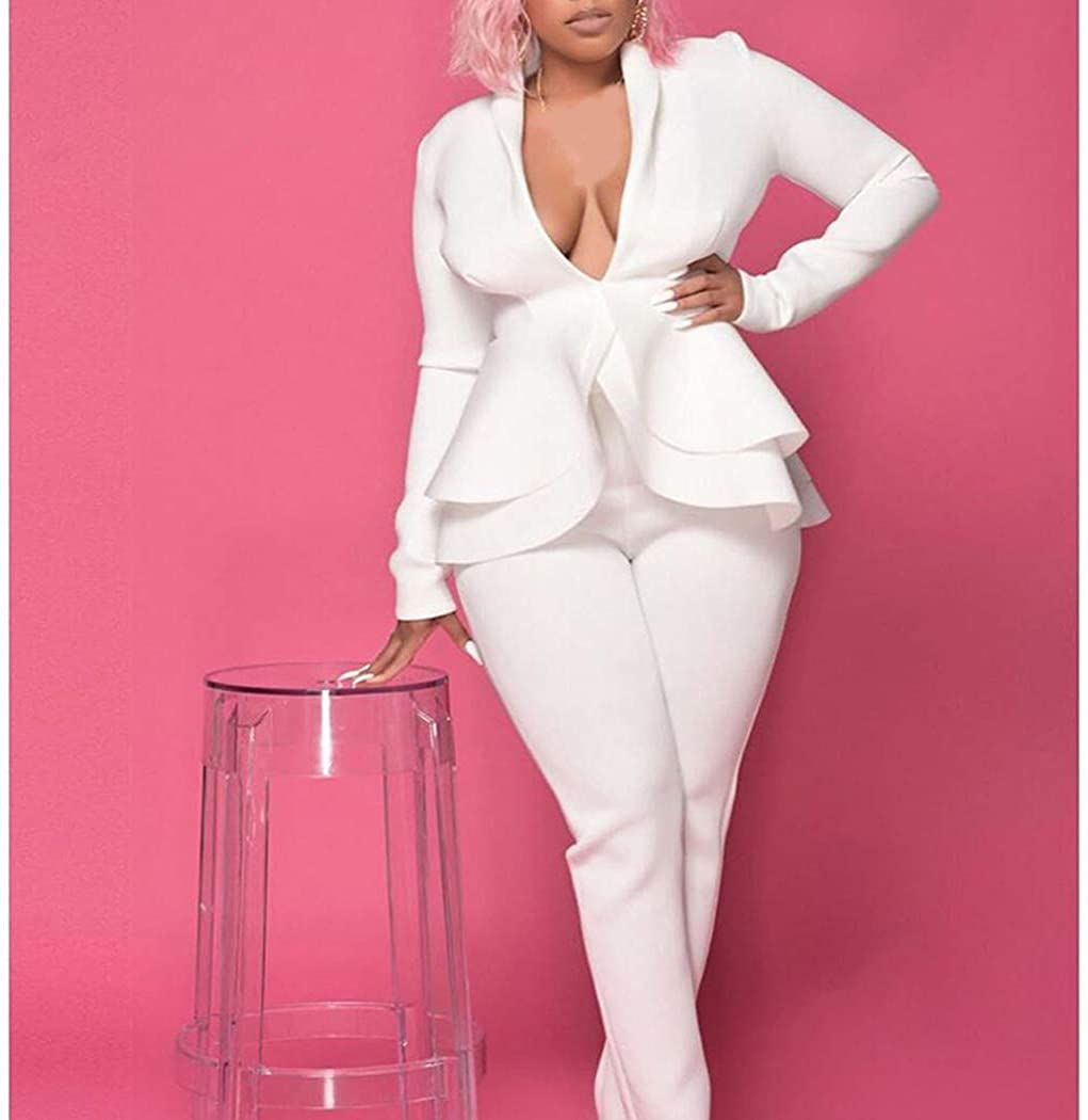 Azastar Damen Elegant Business Anzug Set Slim Fit Klassisch Taillierter Blazer und Hose Hosenanzuge