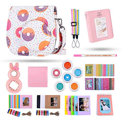 Famall 13 in 1 Instax Mini 9 Camera Accessories Bundles for FujiFilm Instax Mini 9 8 8+ Camera with Mini 9 Case/Album/Selfie Lens/Filters/Wall Hang Frames/Film Frames/Border Stickers(Future Circle)