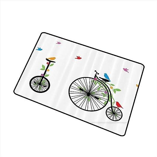 Jbgzzm - Felpudo Lavable para Bicicleta, diseño de pájaros y ...