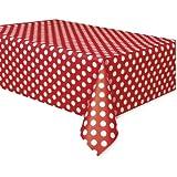 "Polka Dot Plastic Tablecloth, 108"" x 54"", Red"